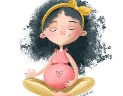 Prenatal yoga illustration series