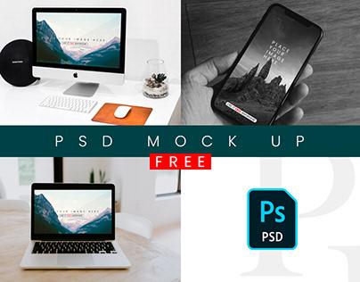 FREE iPhone, iMac & MacBook Mockups PSD