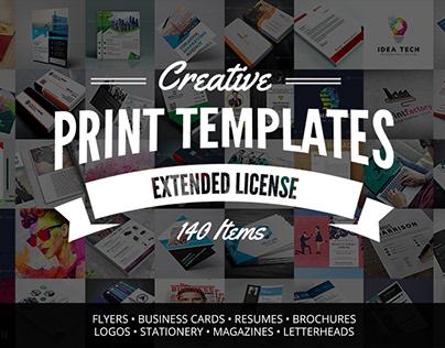 Creative Print Templates Bundle with 140 Items