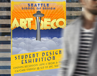 Student exhibition poster designed in art deco style