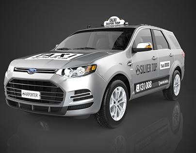 SilverTop Taxi 3D Car Renders