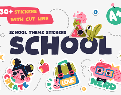 Collection of School stickers or badges