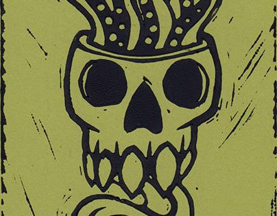 Pentacled Skull - Linocut