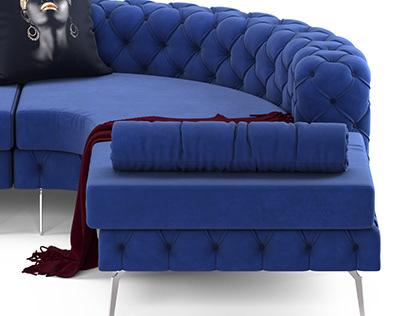 Chesterfield Corner Sofa with Steel Legs