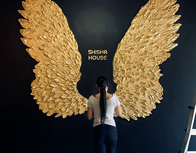 3D Sculptural Wings Mural