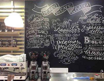 Chalkboard menu for Mundo do Cafe da Baixa
