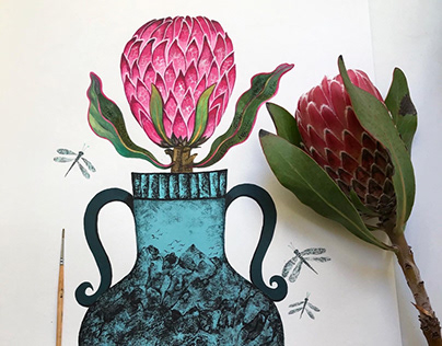 Protea, monotype acrylic
