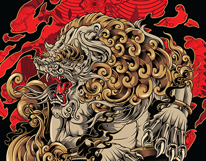 Komainu 狛犬 Vector illustration