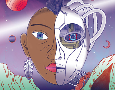 Illustration about feminist sci-fi