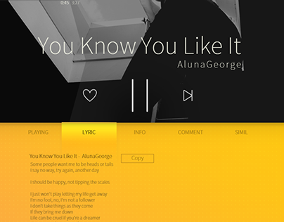 Tabs for web music player
