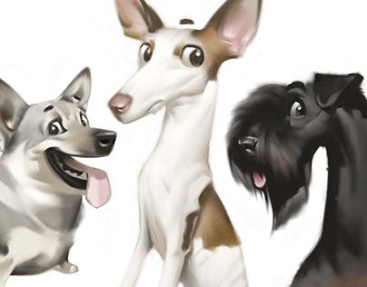 Dog caricatures.
