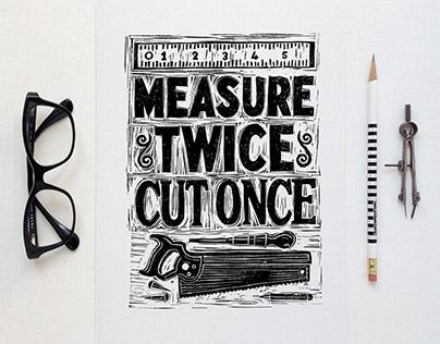Measure Twice DIY Lino Cut Print