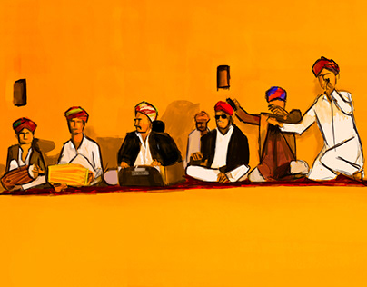 Rajasthan Folk Singers, Illustration, Digital Painting