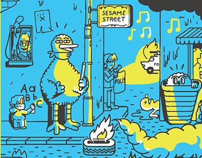 Sesame Street / Screenprint Poster / KRUW