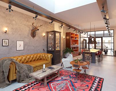 3D interior visualization in loft style
