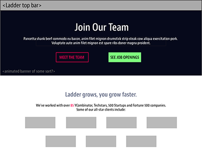Ladder.io team/careers wireframe