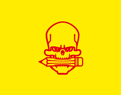 Red skulls on yellow background