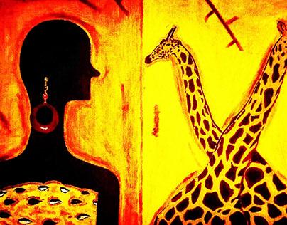 Woman and Giraffes