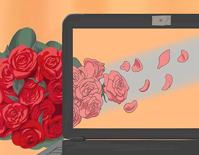 Editorial Illustration: Romance, love and anime