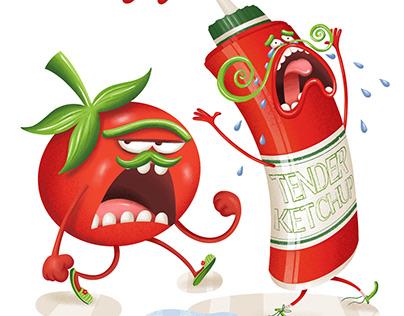 Tender Ketchup (Food Characters illustration)