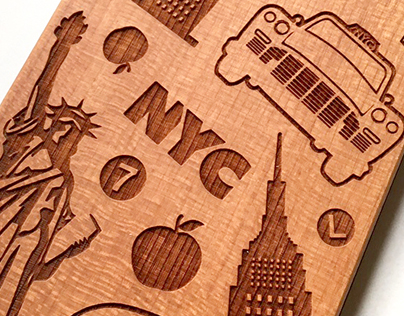 Laser Engraved Phone Case - NYC Pattern