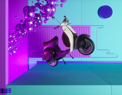 Lights,Colors,Bubbles and Vespa