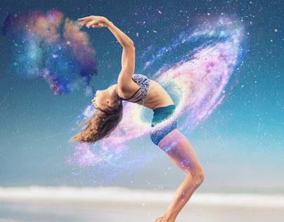 girl dance in galaxy