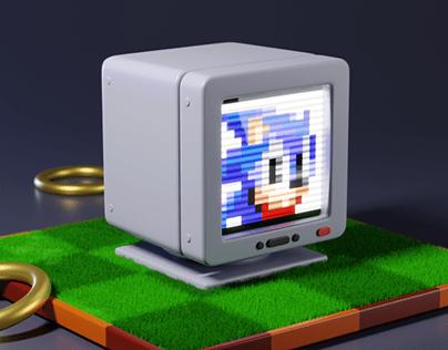 Sonic 3D illustration