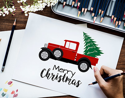 Christmas Truck and Tree Illustration