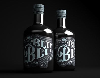 Blueberry grappa bottle label.