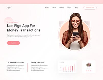 Finance app landig page design