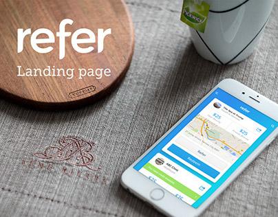 Refer app landing page design