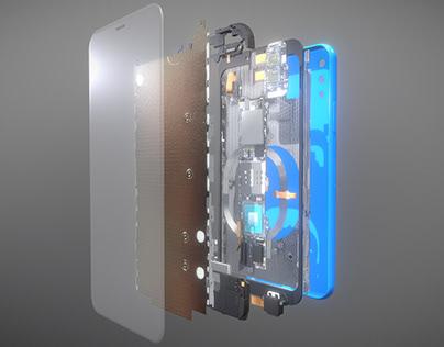 Smartphone components 3D set