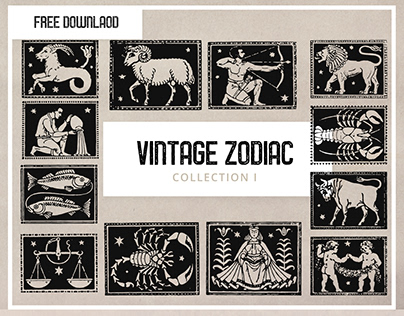 Free -Vintage Zodiac Clipart Collection