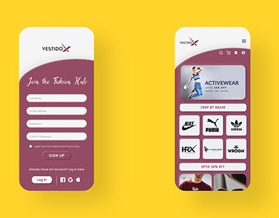 VestidoX ecommerce APP UI designing and prototyping