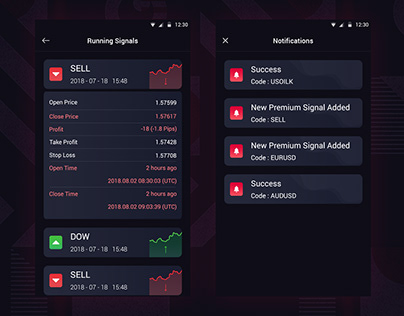 Trading App Running Signals & Notifications Page