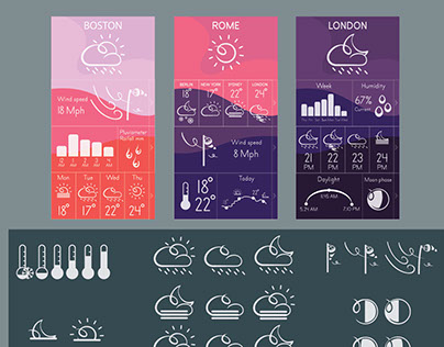 Weather app, mobile user interface.