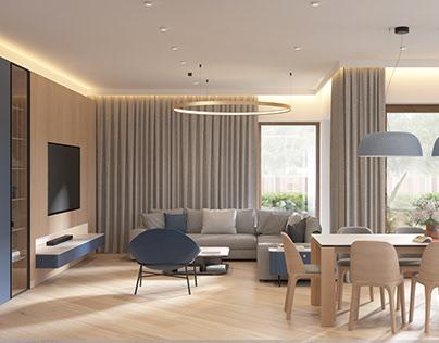 Family blue apartment | interior design