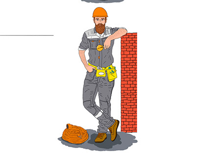 Illustration of an electrician