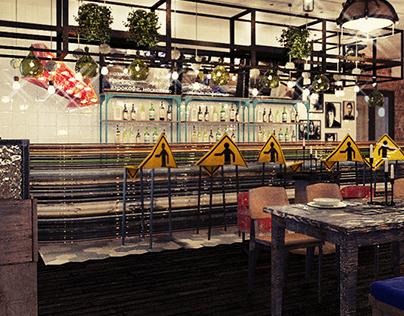 Coloured industrial pub