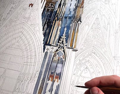 making of watercolor of Koln cathedral facade