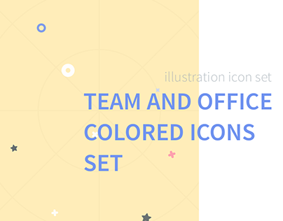 Team and Office Flat Colored Icons Set