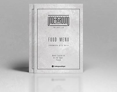 Food Menu for Underground PUB in Sopot, POLAND