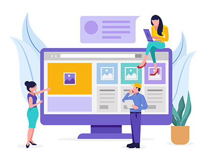 Developing employees working on website development 👇