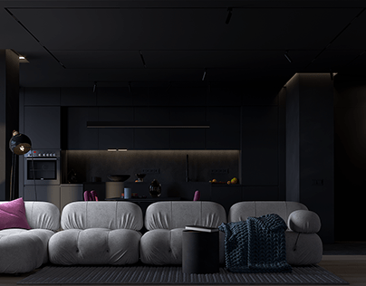 Living room and kitchen design in Kharkov, Ukraine