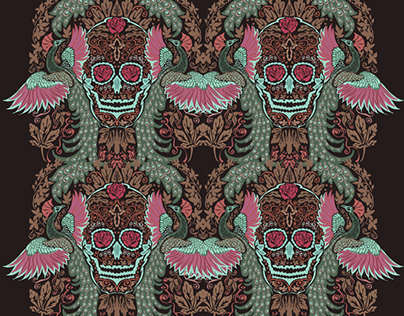Peacock SuagrSkull Pattern
