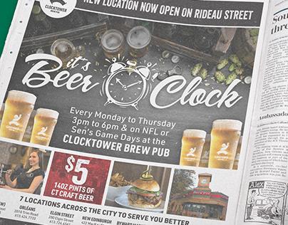 Clocktower Brew Pub Advertisement Design