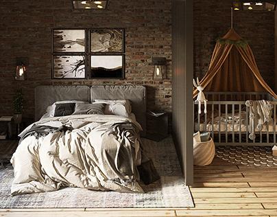 Спальня с зоной для ребенка