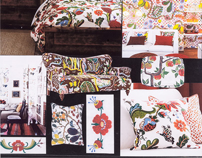 Bedding with Swedish folk art Design theme