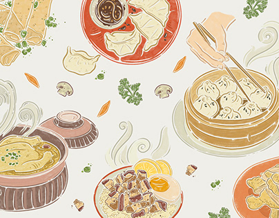 Asian cuisine illustrations